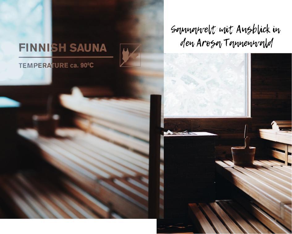Saunawelt mit Ausblick in den Arosa Tannenwald